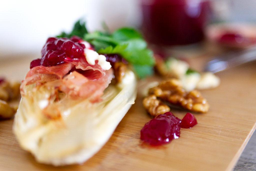 Panama Quadrat: In Honig karamellisierter Chicorée aus dem Ofen ist einfach köstlich.