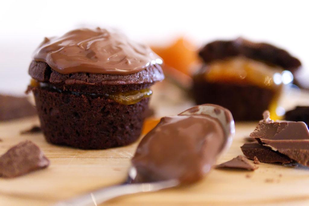 Panama Quadrat: Schoko-Marillen-Cupcakes