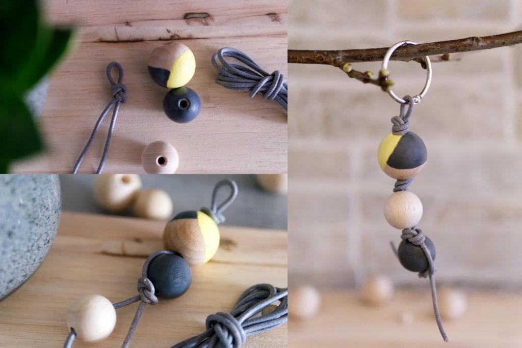 Panama Quadrat: DIY Schlüsselanhänger aus Holzperlen – Variante 3.