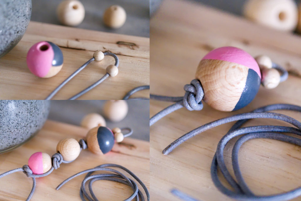 Panama Quadrat: DIY Schlüsselanhänger aus Holzperlen – Variante 1.