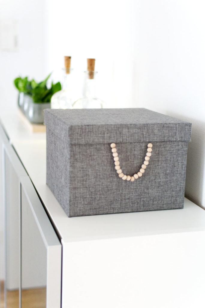 Panama Quadrat: Ordnungsbox mit Holzperlen – für Pinterest!