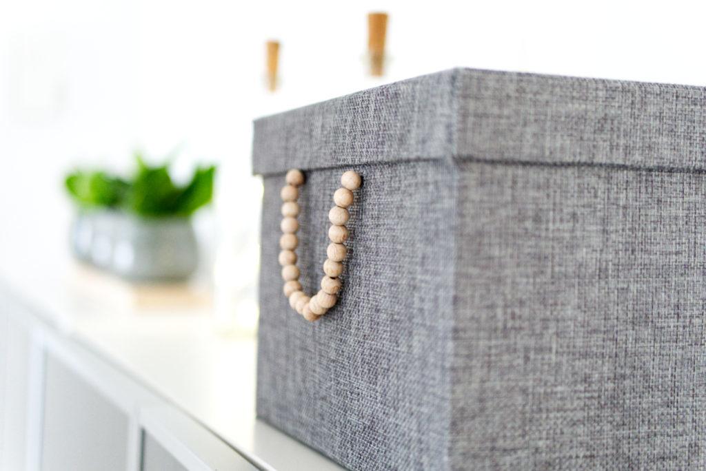Panama Quadrat: Ordnungsbox mit Holzperlen