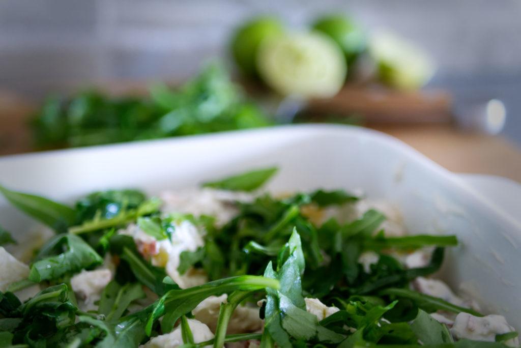 Panama Quadrat: Rustikaler Kartoffelsalat mit selbstgemachter Sour Cream im mediterranen Style.
