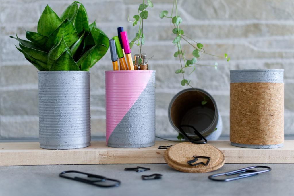 Panama Quadrat: DIY-Schreibtischutensilo - Verschiedene Varianten für ein Upcycling aus leeren Dosen.
