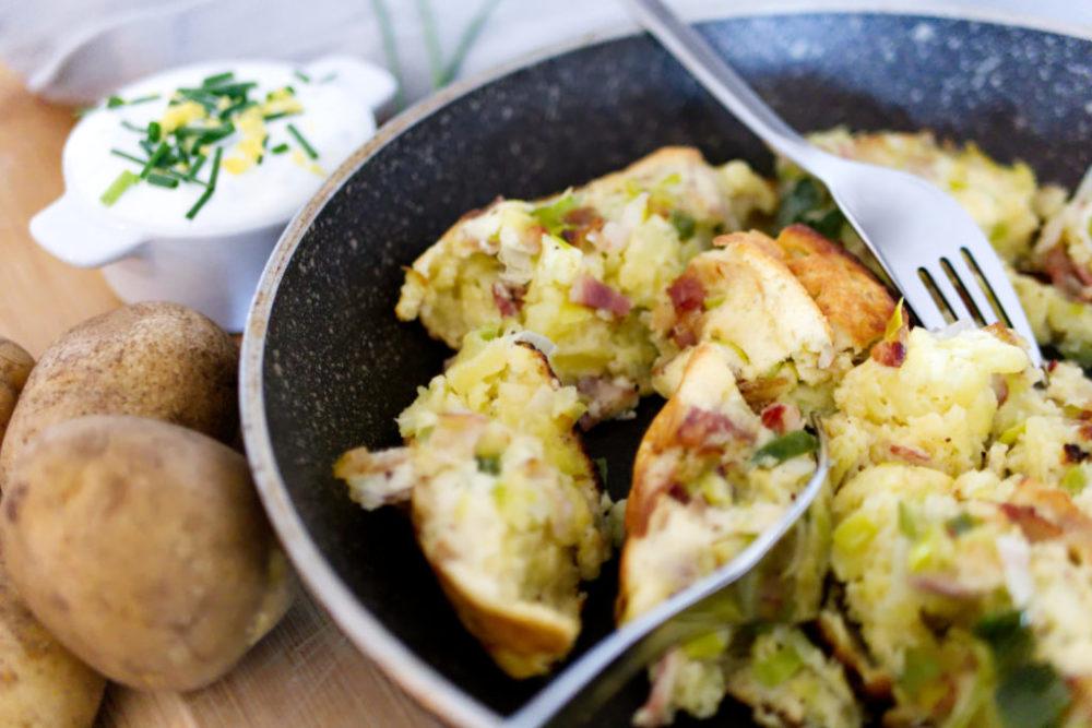 Glutenfreier Kartoffelschmarrn mit Speck und Lauch | Einfach lecker | Panama Quadrat